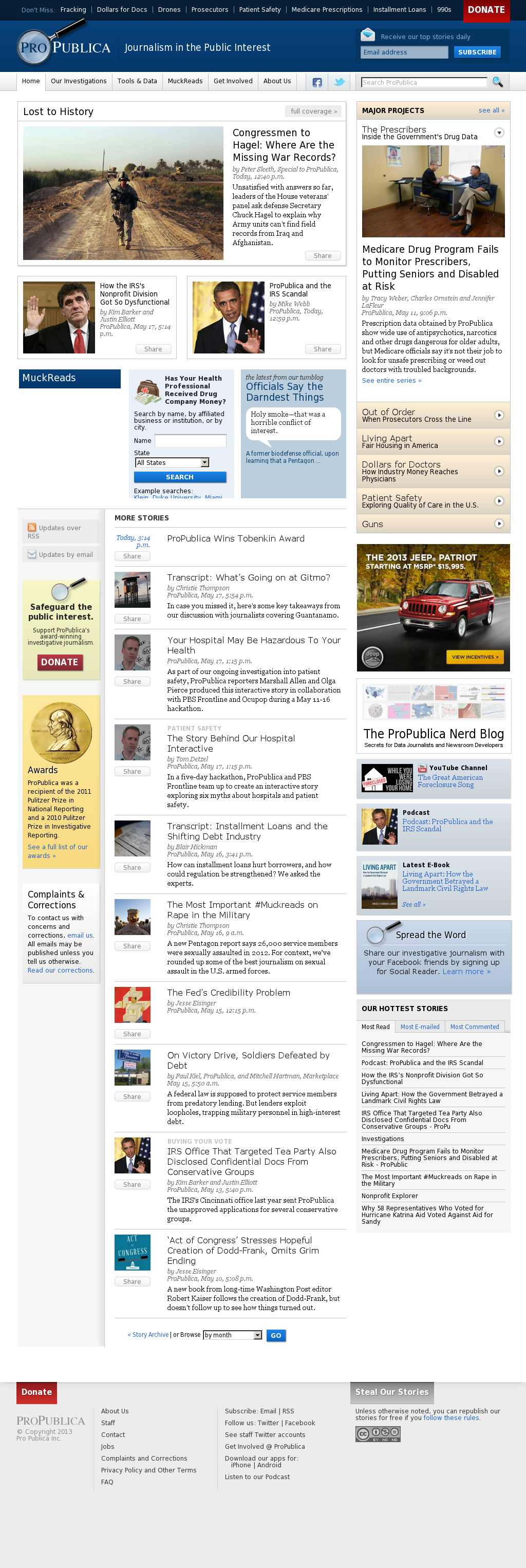 ProPublica at Tuesday May 21, 2013, 12:19 a.m. UTC