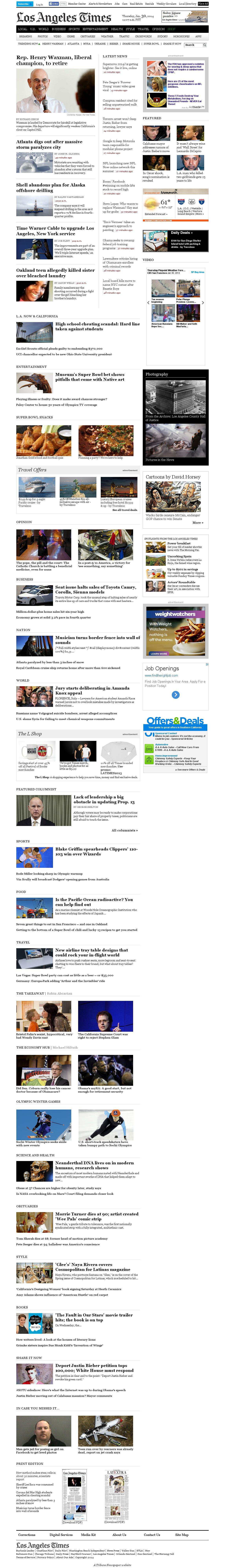 Los Angeles Times at Thursday Jan. 30, 2014, 7:11 p.m. UTC