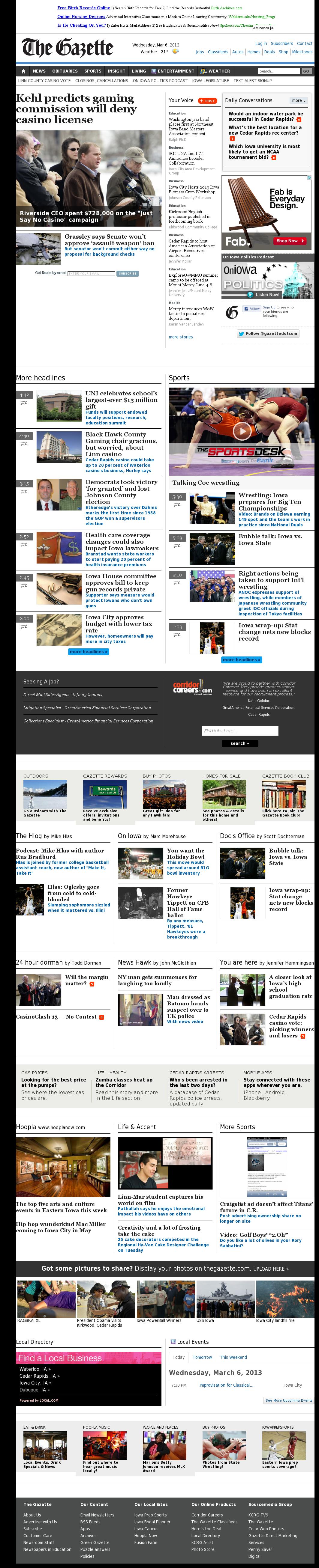 The (Cedar Rapids) Gazette at Thursday March 7, 2013, 1:06 a.m. UTC