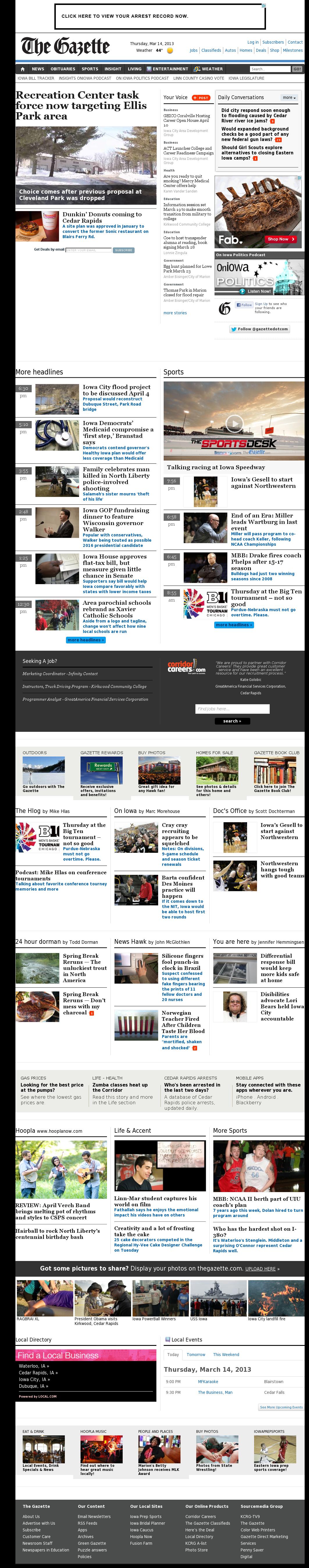 The (Cedar Rapids) Gazette at Friday March 15, 2013, 1:08 a.m. UTC