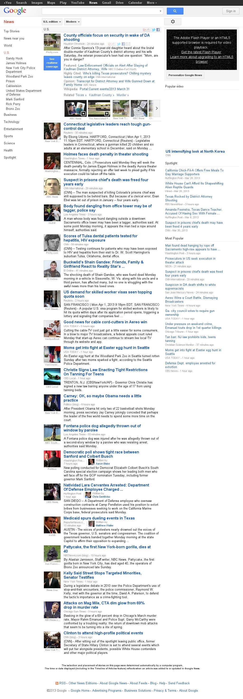 Google News: U.S. at Tuesday April 2, 2013, 4:09 a.m. UTC