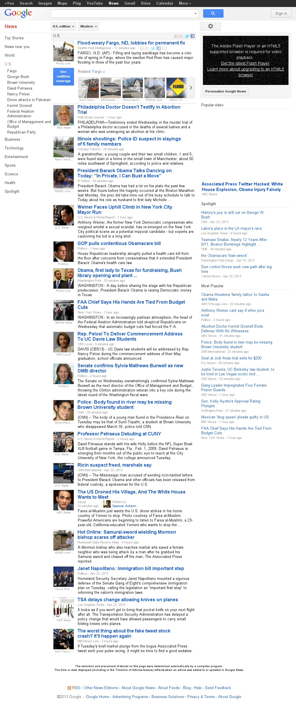 Google News: U.S. at Wednesday April 24, 2013, 9:09 p.m. UTC