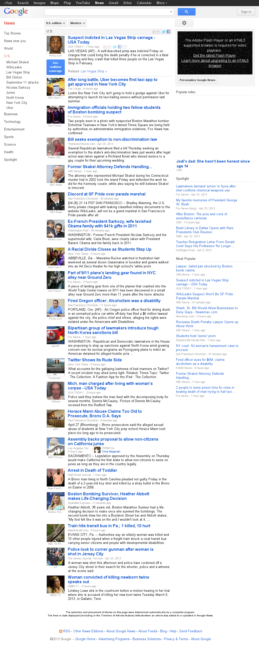 Google News: U.S. at Saturday April 27, 2013, 5:09 a.m. UTC