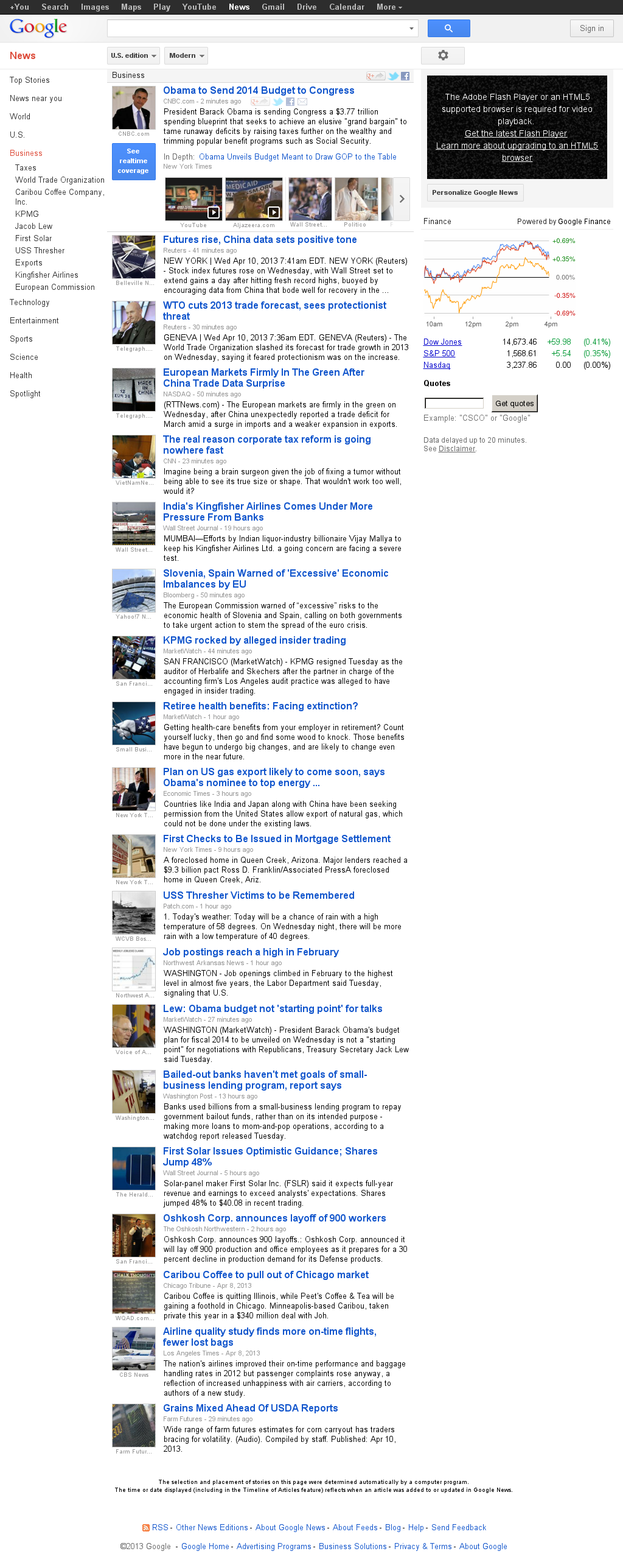 Google News: Business at Wednesday April 10, 2013, 12:07 p.m. UTC
