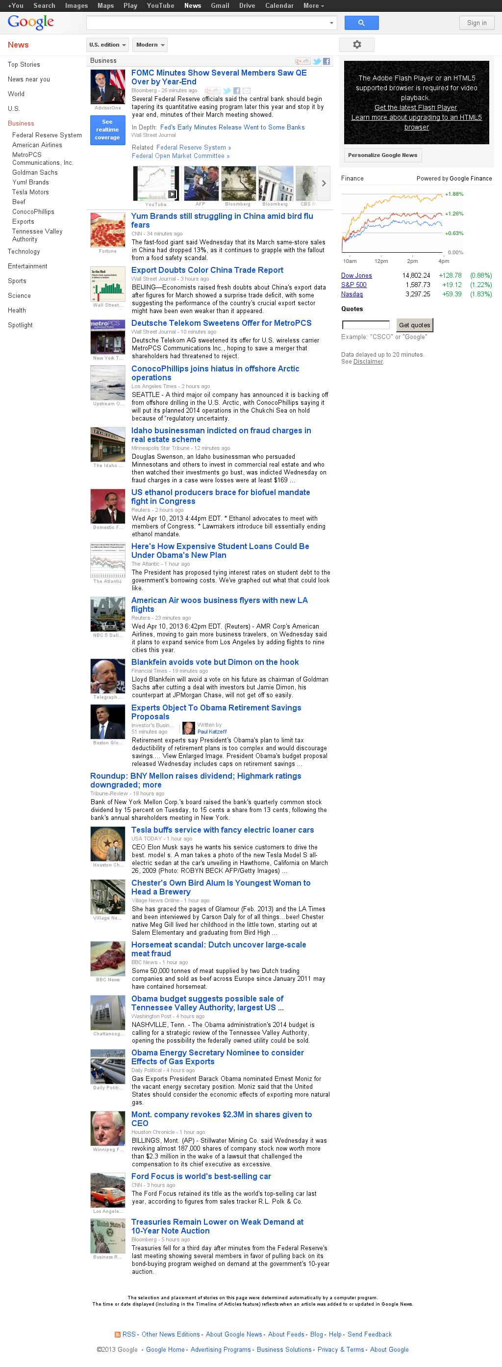 Google News: Business at Wednesday April 10, 2013, 11:09 p.m. UTC