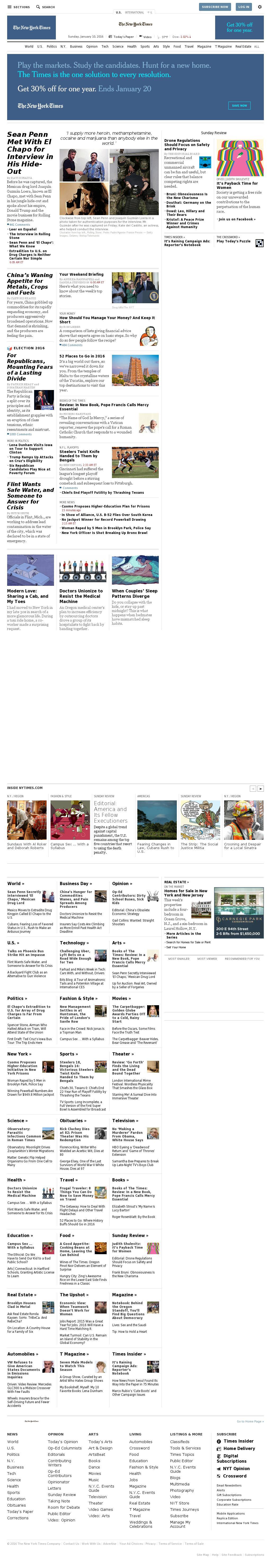 The New York Times at Sunday Jan. 10, 2016, 1:15 p.m. UTC