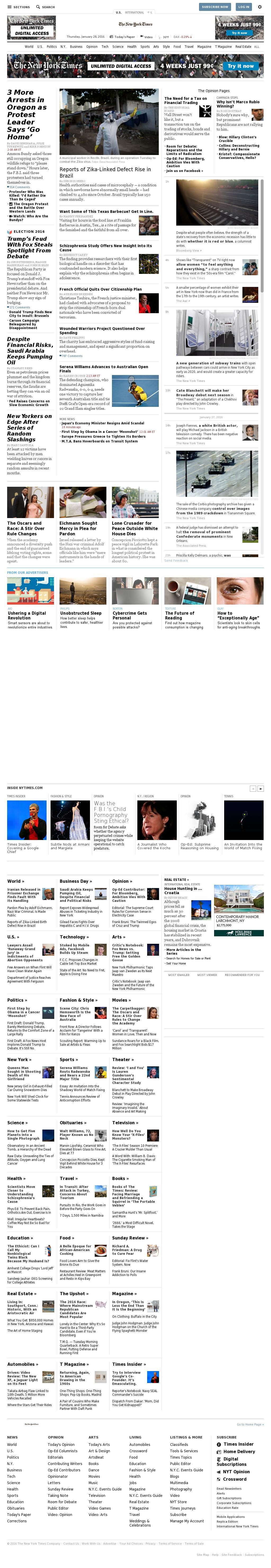 The New York Times at Thursday Jan. 28, 2016, 10:19 a.m. UTC