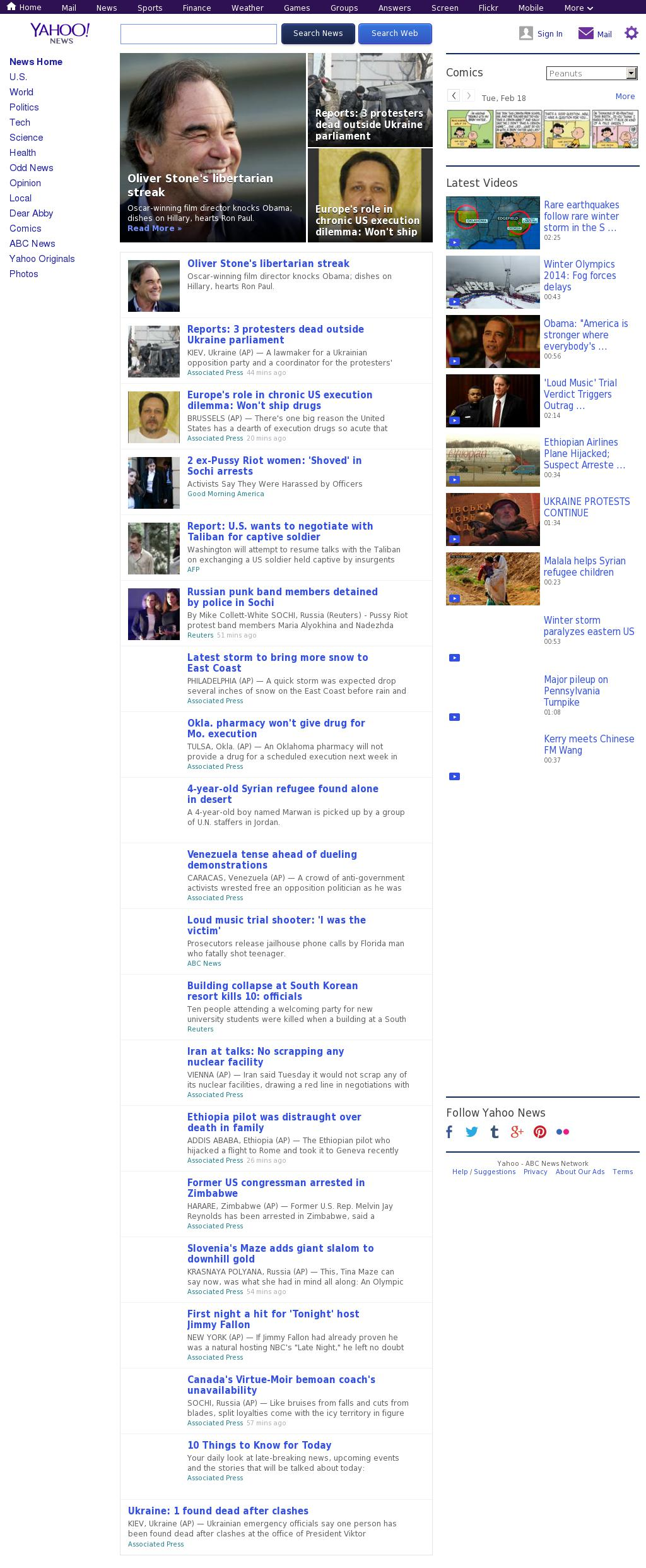 Yahoo! News at Tuesday Feb. 18, 2014, 3:21 p.m. UTC