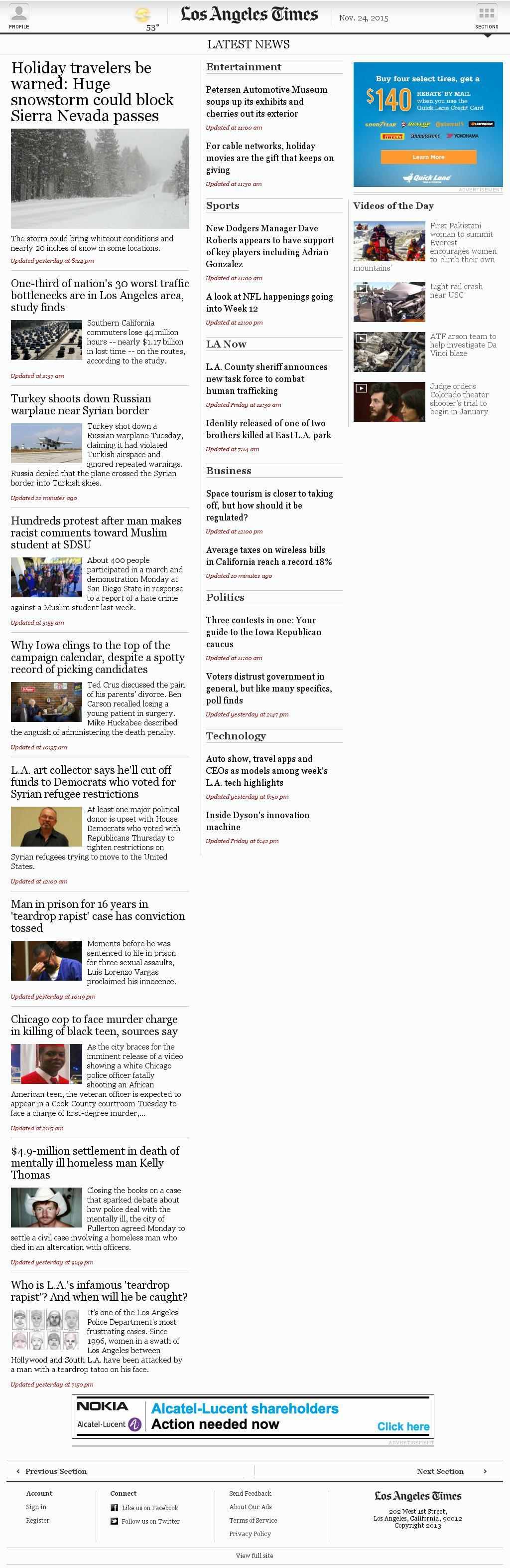 Los Angeles Times at Tuesday Nov. 24, 2015, 1:10 p.m. UTC