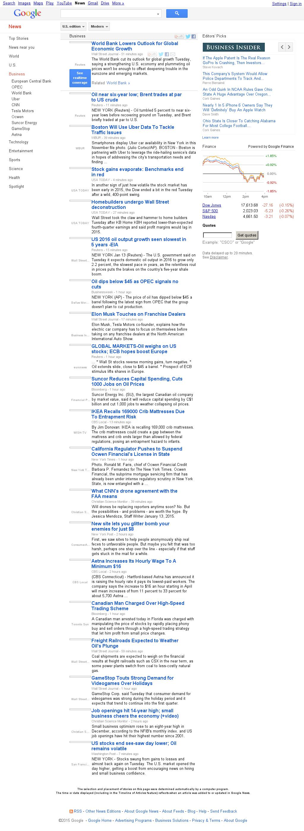Google News: Business at Tuesday Jan. 13, 2015, 11:08 p.m. UTC