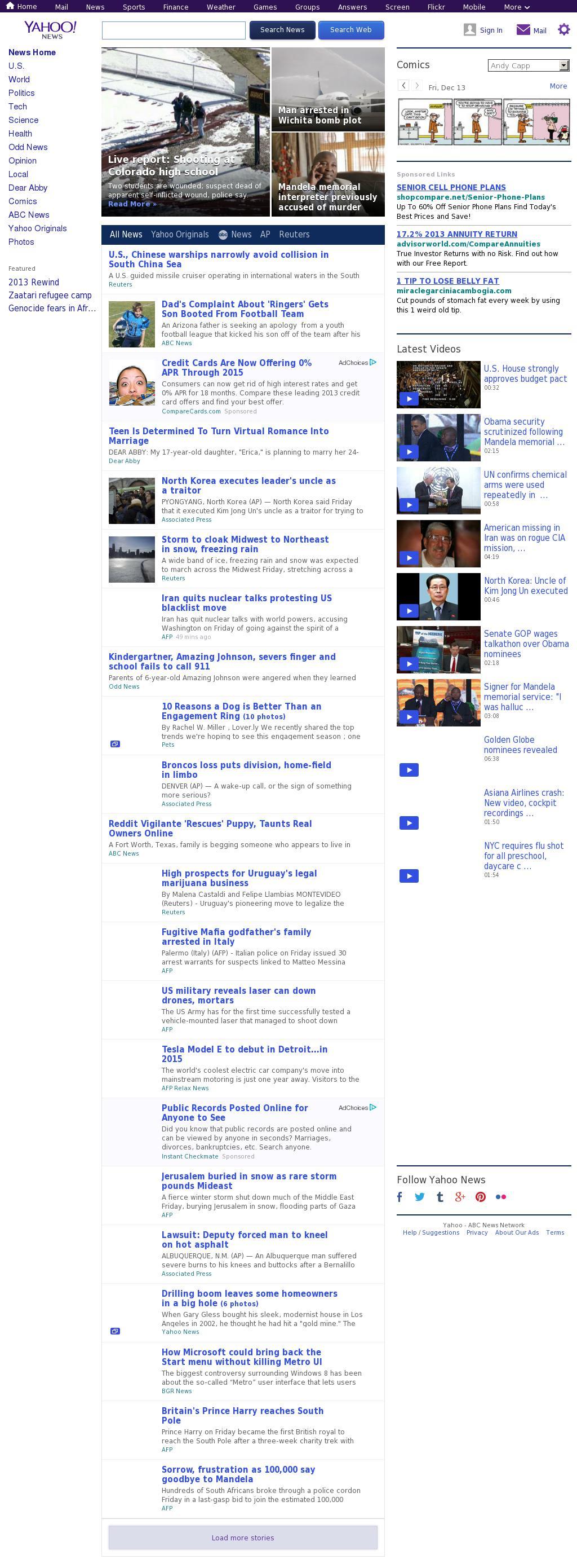 Yahoo! News at Friday Dec. 13, 2013, 9:18 p.m. UTC
