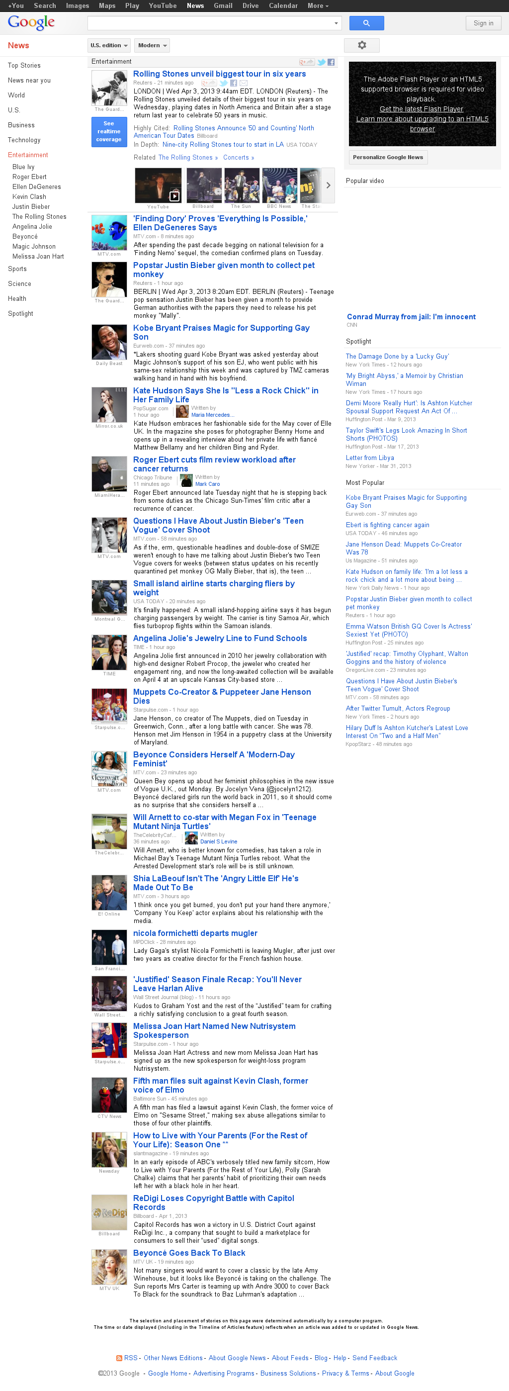 Google News: Entertainment at Wednesday April 3, 2013, 2:08 p.m. UTC
