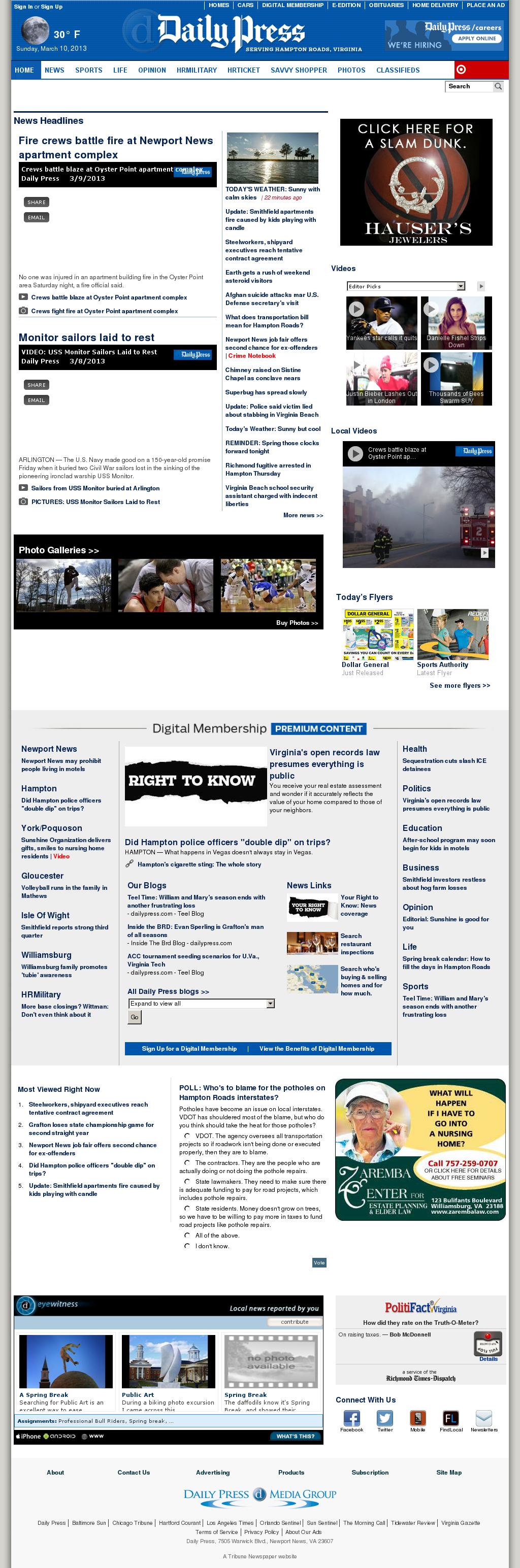 (Hampton Roads) Daily Press at Sunday March 10, 2013, 11:03 a.m. UTC