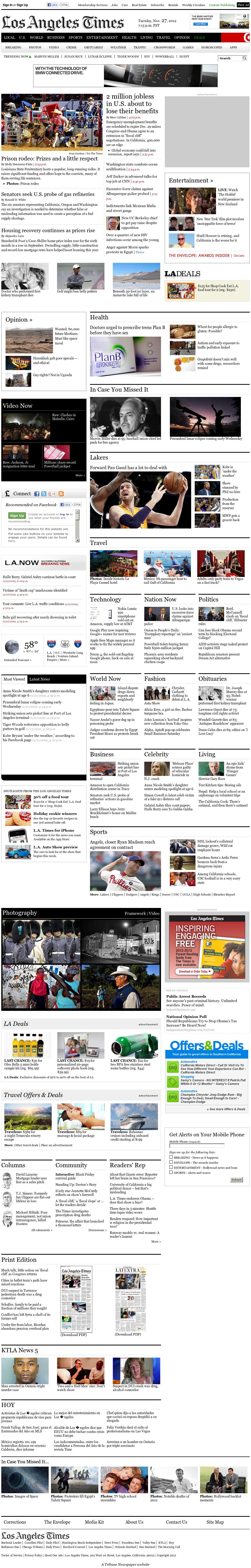 Los Angeles Times at Wednesday Nov. 28, 2012, 3:21 a.m. UTC