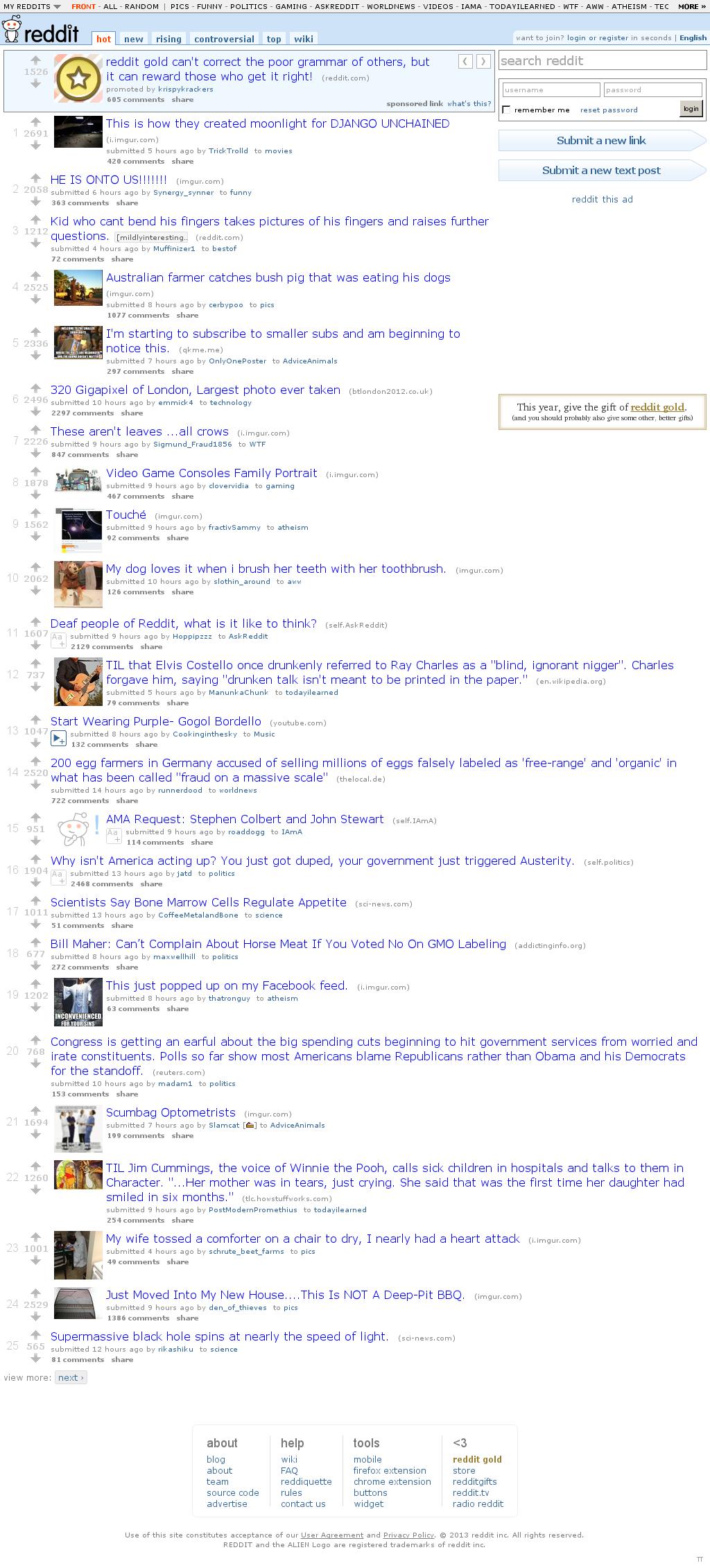 Reddit at Sunday March 3, 2013, 12:16 p.m. UTC