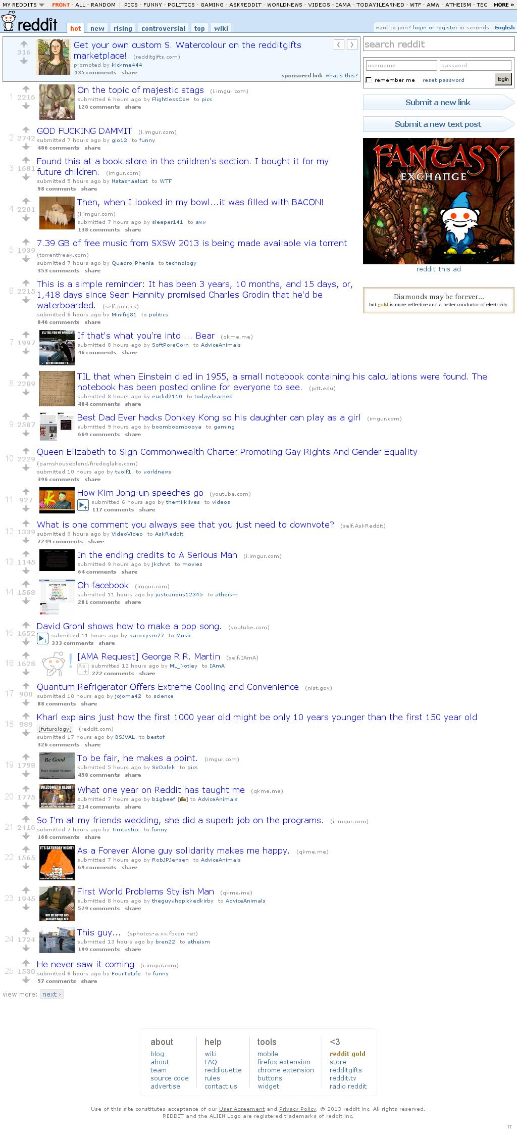 Reddit at Sunday March 10, 2013, 11:17 a.m. UTC
