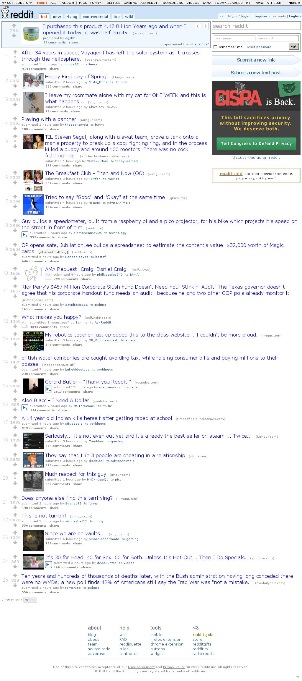 Reddit at Wednesday March 20, 2013, 5:24 p.m. UTC