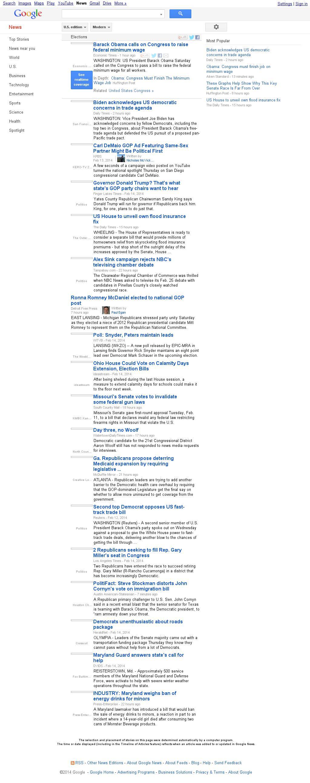Google News: Elections at Saturday Feb. 15, 2014, 11:06 p.m. UTC