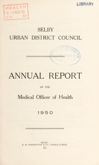 Cover of: [Report 1950] | Selby (England). Urban District Council